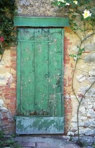 Green Door with Rose